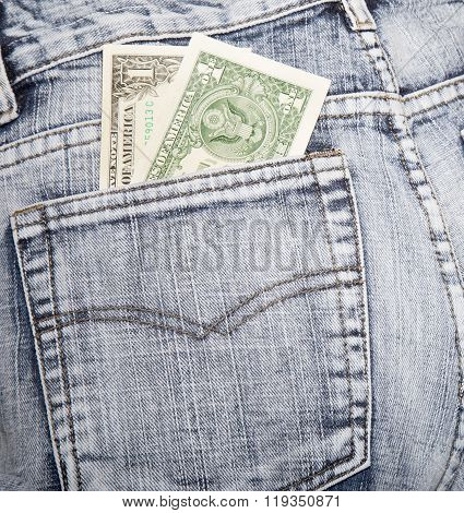 Money, Two Notes On One Dollar, In A Hip-pocket Of Blue Jeans
