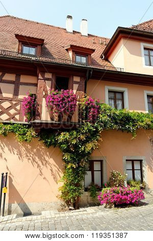 House in Rothenburg ob der Tauber - - one of the best-preserved medieval towns in Europe part of the famous Romantic Road tourist route in Germany.