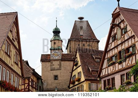 Rothenburg ob der Tauber in Germany. Markus Tower with Roder arch with its slim clock tower which were part of the town's first fortifications (1200).