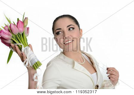Smiling Bride Throwing Bouquet
