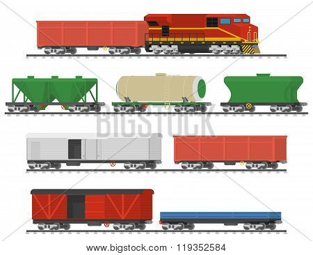 Collection of freight railway cars. Isolated on white background.