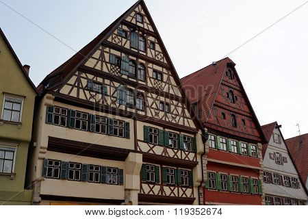 Wine market street with its magnificent gabled buildings in Dinkelsbuhl Germany. Dinkelsbuhl is old Franconian town one of the best-preserved medieval urban complexes in Germany.