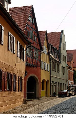 Traditional architecture of Dinkelsbuhl Bavaria Germany. Dinkelsbuhl is old Franconian town one of the best-preserved medieval urban complexes in Germany.