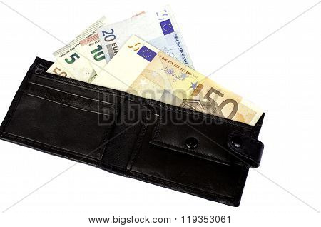 Euro Banknotes In Nominal Value 5, 10, 20 And 50 In Black Purse.