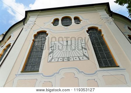 Wieskirche - the famous pilgrimage Church of the Scourged Saviour near Steingaden in BavariaGermany - an UNESCO world heritage site.