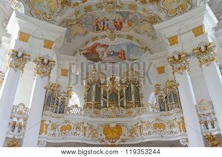 STEINGADEN GERMANY - AUGUST 11 2015: Interior of Wieskirche - the famous pilgrimage Church of the Scourged Saviour near Steingaden in BavariaGermany - an UNESCO world heritage site.