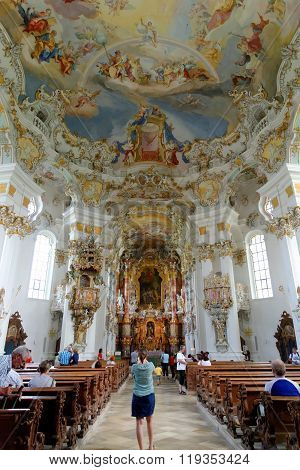 STEINGADEN GERMANY - AUGUST 11 2015: Interior of Wieskirche - the famous pilgrimage Church of the Scourged Saviour near Steingaden in Bavaria Germany - an UNESCO world heritage site.