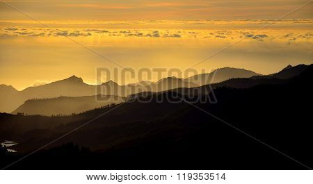 Mountains at sunset, Gran canaria, Canary islands