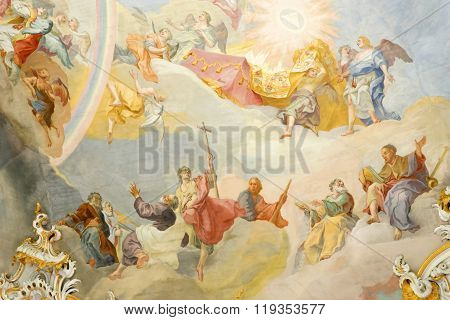 STEINGADEN GERMANY- AUGUST 11 2015: Fresco in Pilgrimage Church Wieskirche a rococo churchdesigned in 1740s by Dominikus Zimmermann. A UNESCO World Heritage List in 1983.