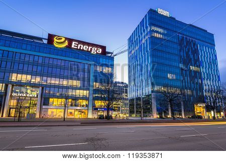 GDANSK, POLAND - FEBRUARY 23, 2016: Modern buildings architecture of Olivia Business Centre in Gdansk, Poland. Olivia Business Centre is the largest office centre in Tri-City and Northern Poland.