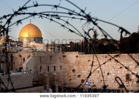 Dome Of The Rock And Western Wall Through Barbed Wire