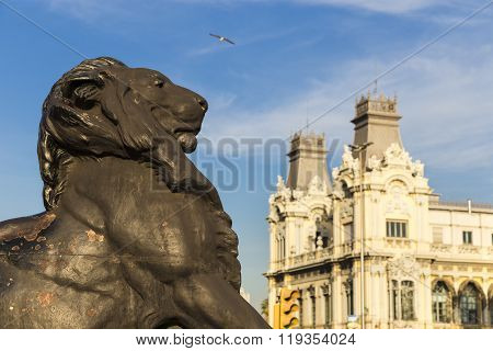 Lion Statue Detail At The Base Of The Columbus Monument In Barcelona