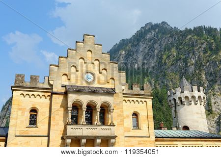 Detail of Neuschwanstein Castle. Nineteenth-century Romanesque Revival palace in southwest Bavaria Germany.