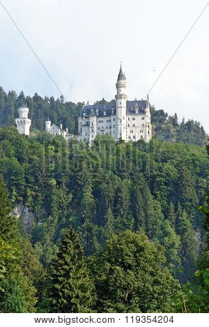 Neuschwanstein Castle. Nineteenth-century Romanesque Revival palace in southwest Bavaria Germany.