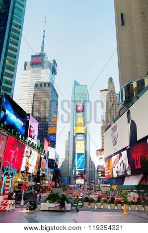 Times Square In New York In The Morning