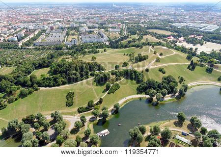 Aerial view of part of the Olympic Park from from the 291 m high Olympic tower (Olympiaturm) in Munich Germany.