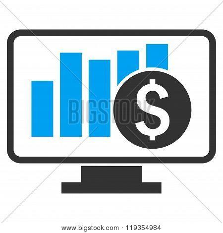 Stock Market Monitoring Flat Vector Icon