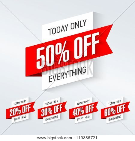 Today only, one day super sale banner. One day deal, special offer, big sale, clearance. Vector.