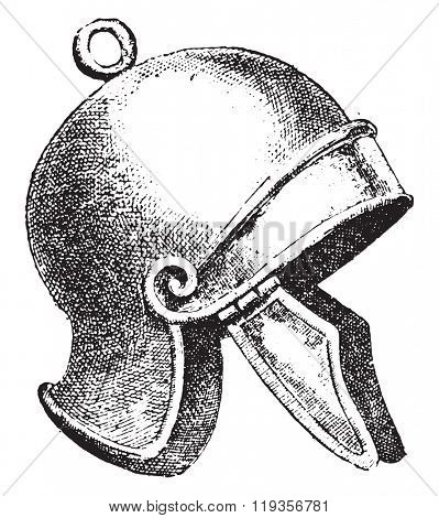 Helmet, Roman Centurion, vintage engraved illustration. Dictionary of words and things - Larive and Fleury - 1895.