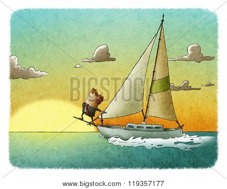 Happy Businessman Sailing On His Yacht