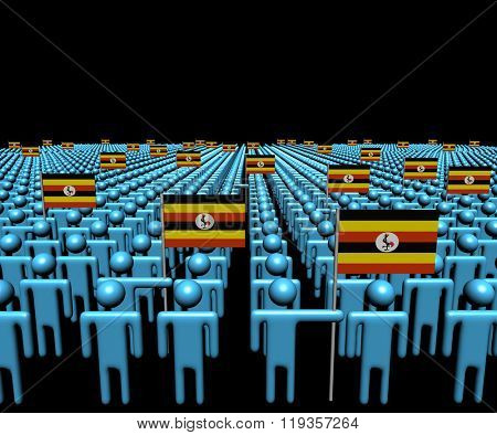 Crowd of abstract people with many Ugandan flags illustration