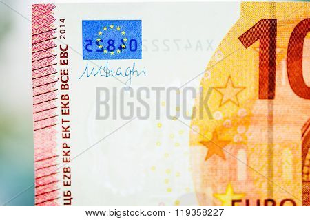 Ten Euro Paper Note Currency Detail