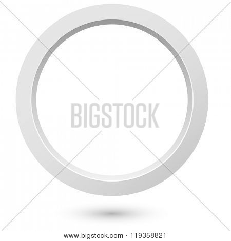 Abstract white 3d ring isolated on white background.