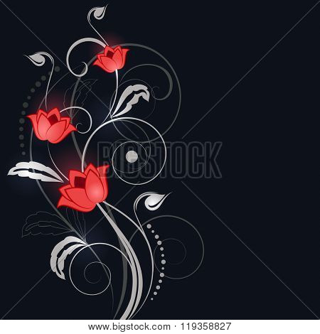 Abstract black background with white and red flower ornament.