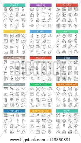 Vector modern big flat outline icons set on white