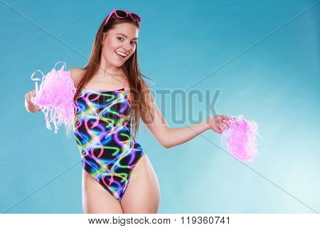 Young Woman Girl In Swimsuit With Pom Poms.