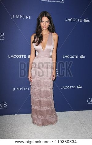 LOS ANGELES - FEB 23:  Emily Ratajkowski at the 18th Costume Designers Guild Awards at the Beverly Hilton Hotel on February 23, 2016 in Beverly Hills, CA