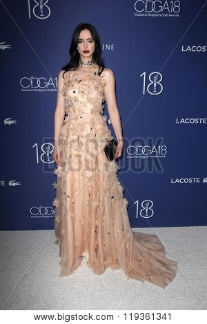 LOS ANGELES - FEB 23:  Krysten Ritter at the 18th Costume Designers Guild Awards at the Beverly Hilton Hotel on February 23, 2016 in Beverly Hills, CA