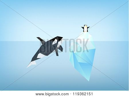 Orca Whale Looking At Penguin Sitting On Iceberg Illustration, Low Poly