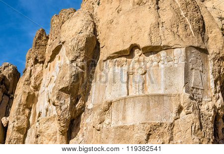 Ancient carvings at Naqsh-e Rustam necropolis in Iran