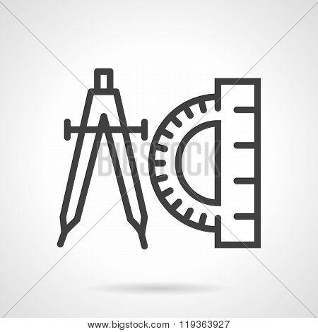 Compasses and protractor black line vector icon