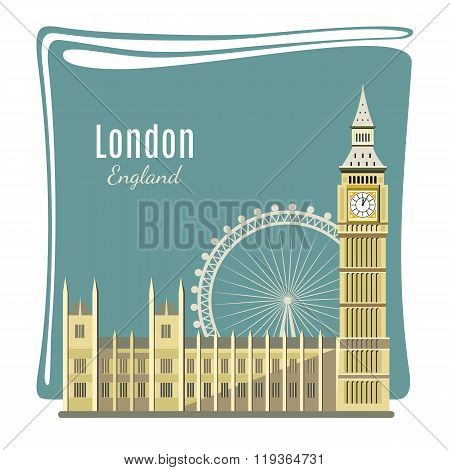 London landmarks detailed illustration