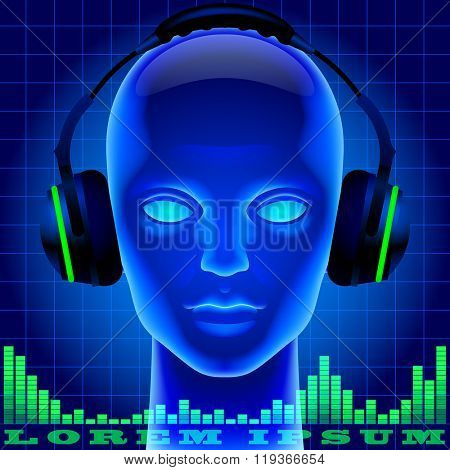 Futuristic artificial head in blue light with headphones and green graphic equalizer. Metaphor and cover for modern music. Three dimensional stylized drawing. Vector illustration