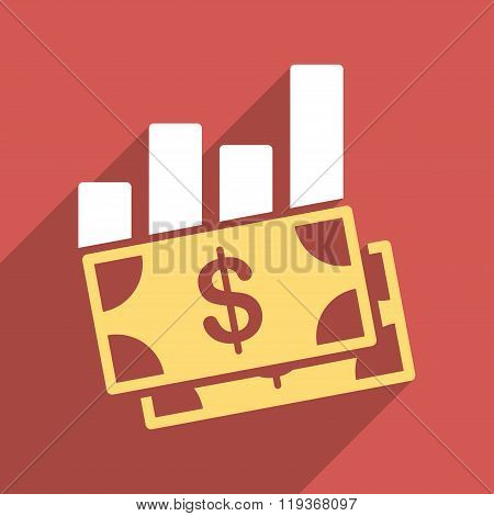 Sales Bar Chart Flat Longshadow Square Icon