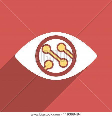 Smart Lens Flat Longshadow Square Icon