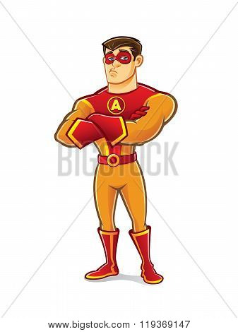 Handsome Superhero Crossing Arm