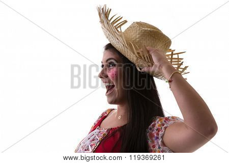 Brazilian brunette woman wearing junina costume
