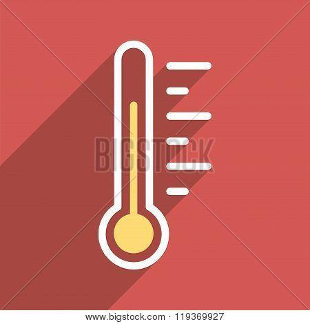 Temperature Level Flat Longshadow Square Icon
