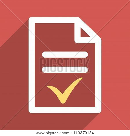 Valid Document Flat Longshadow Square Icon