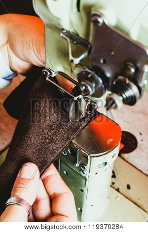 Leather Artisan Manufacturing Handbag At His Atelier. Leather Workshop.