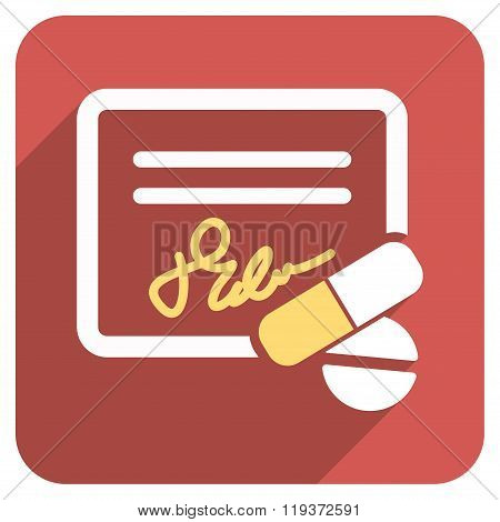 Receipt And Pills Flat Rounded Square Icon with Long Shadow