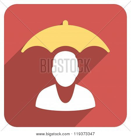 Personal Insurance Protection Flat Rounded Square Icon with Long Shadow