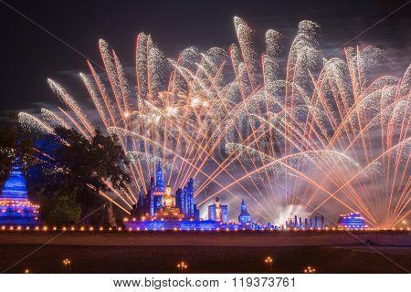 Fireworks at Sukhothai historical park, Mahathat Temple ,Thailand.