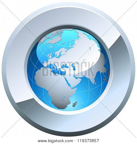 Globe button rimmed with metal glossy frame isolated on white.