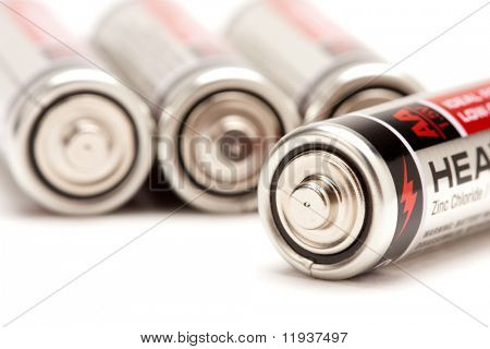 Heavy Duty AA Batteries on a White Background.