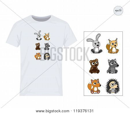 Hare, Wolf, Bear, Hedgehog, Squirrel, Fox. Vector Design For Printing On T-shirts